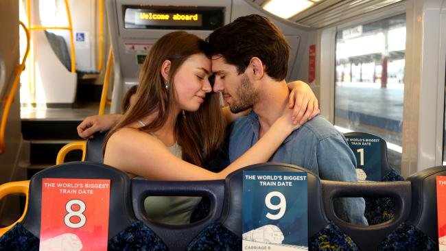 Couple Dating - train